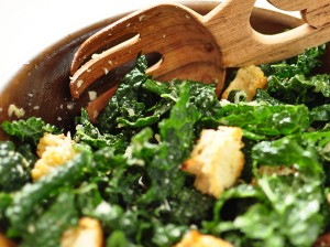 Healthy, vegan and gluten free kale caesar salad recipe