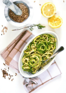 Healthy Raw Vegan Zucchini Pesto Pasta Primavera Gluten Free Recipe