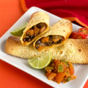 Mexi-Indian Black Bean and Sweet Potato Enchiladas vegan Recipe