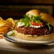 "Buffalo Quinoa and Bean Burger With Bleu ""Cheese"" Sauce"