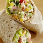 Bean, Cilantro Cauliflower Rice and Veggie Wrap