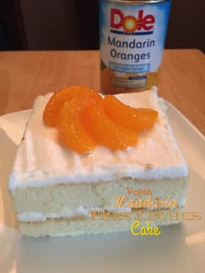 vegan tres leches cake with mandains