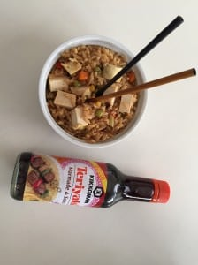 vegan fried rice with teriyaki sauce