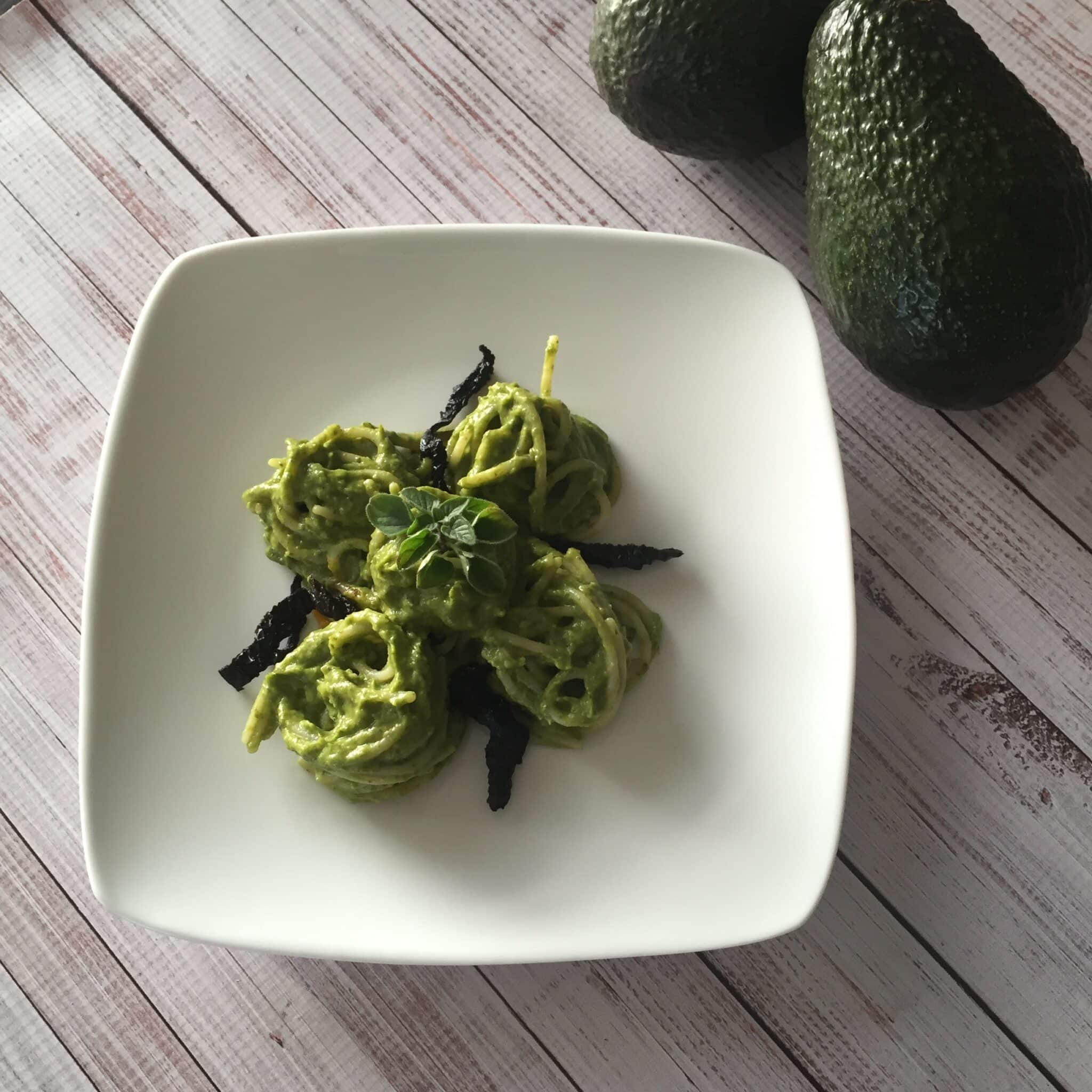 smoky vegan avocado pesto pasta