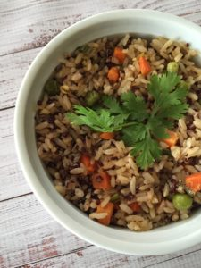 veggie fried brown rice and quinoa