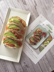tacos with recipe card