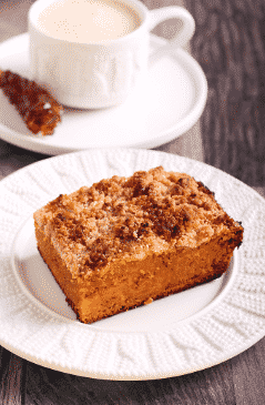 vegan pumpkin upside down coffee crumb cake recipe